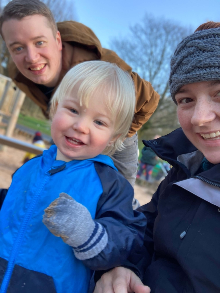 Noah Mulrooney at the park with Mummy and Daddy.